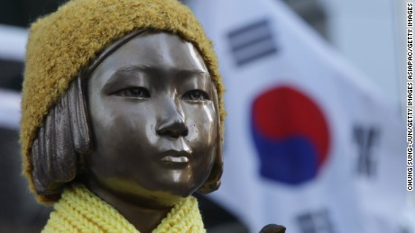 """SEOUL, SOUTH KOREA - DECEMBER 28:  A statue of a girl symbolizing the issue of """"comfort women"""" in front of the Japanese Embassy on December 28, 2015 in Seoul, South Korea. South Korean Foreign Minister Yun Byung Se and Japanese Foreign Minister Fumio Kishida met to discuss the issue of Korean 'comfort women' in Japanese military brothels before and during World War II.  (Photo by Chung Sung-Jun/Getty Images)"""