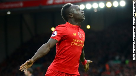 LIVERPOOL, ENGLAND - NOVEMBER 06:  Sadio Mane of Liverpool celebrates scoring his sides first goal during the Premier League match between Liverpool and Watford at Anfield on November 6, 2016 in Liverpool, England.  (Photo by Clive Brunskill/Getty Images)