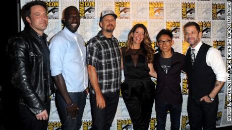 Directors Ben Affleck and Rick Famuyiwa, David Ayer, Patty Jenkins, James Wan and Zack Snyder attend the Warner Bros. Presentation during Comic-Con International 2016 in San Diego, California.  (Photo by Albert L. Ortega/Getty Images)