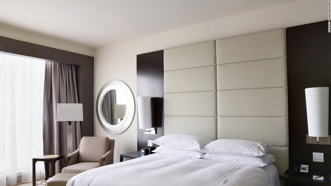 <strong>Room 1704, Panama City: </strong>The Hilton Design and Construction Standards Manual instructs that each room must contain one lounge chair with upholstered arms. Other constants are alarm clocks, telephones, night stands, back rests and reading lamps.