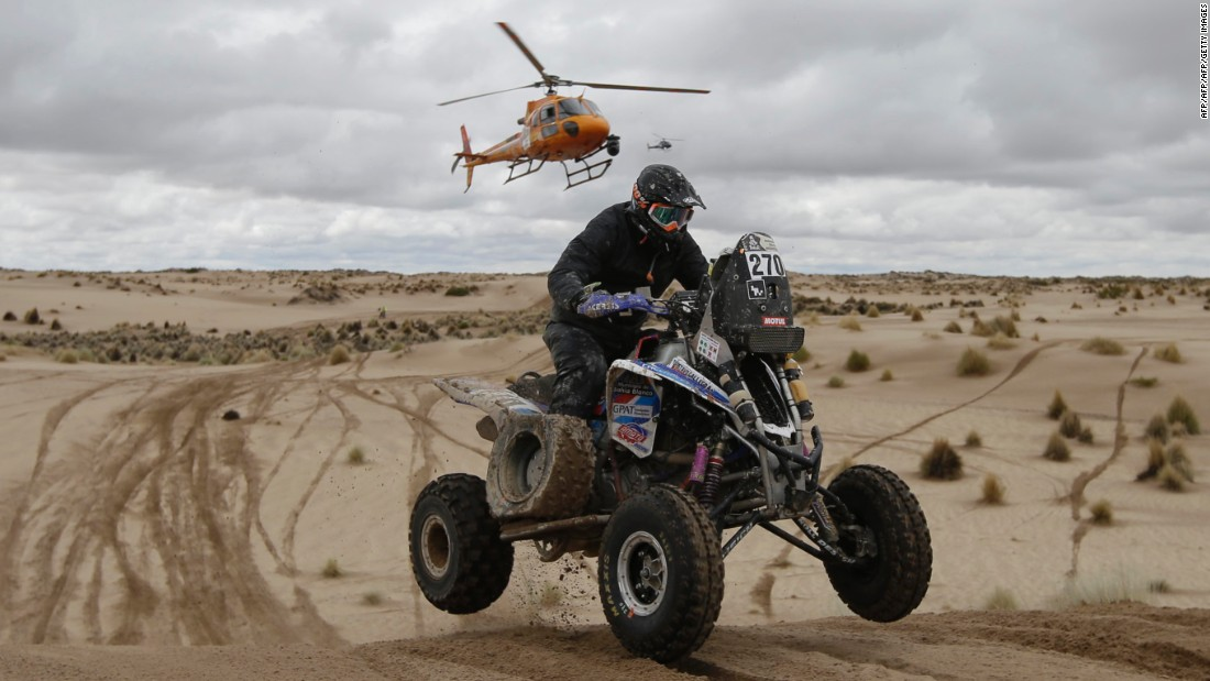 There are traditionally four major vehicle categories in the legendary race -- cars, motorbikes, trucks and quad bikes (seen here). The UTV (Utility Task Vehicle) or buggy class was added in 2017.