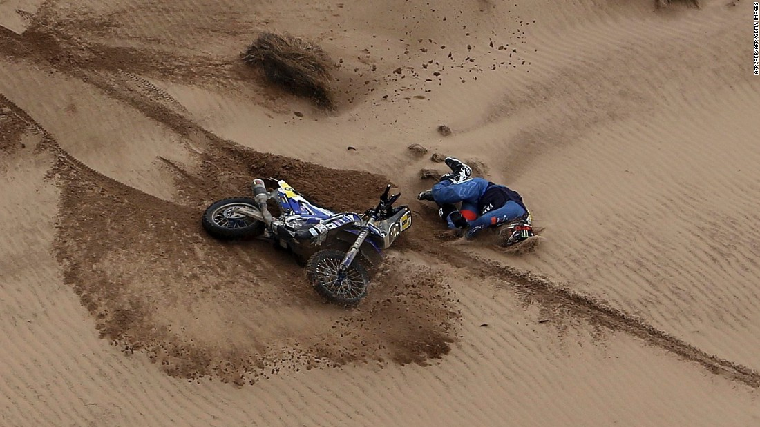 The Dakar is not for the fainthearted -- danger can be around every bend. Title hopeful Adrien Van Beveren of France took a tumble during stage seven before getting back on his bike.