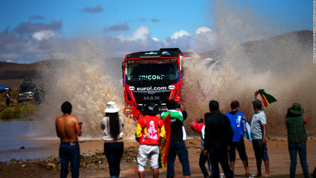 Keep on trucking: Fans watch the big machines in action during stage eight between Uyuni and Salta, Argentina.