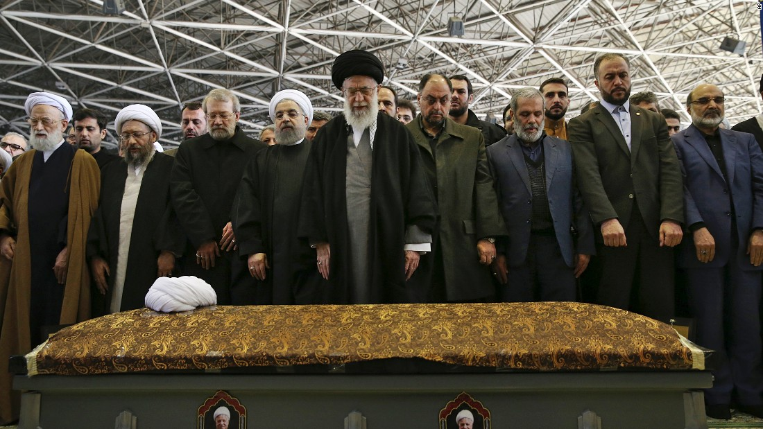"Iranian Supreme Leader Ayatollah Ali Khamenei, center, leads a prayer over the casket of former Iranian President Akbar Hashemi Rafsanjani on Tuesday, January 10. Rafsanjani, who served as Iran's president from 1989 to 1997, <a href=""http://www.cnn.com/2017/01/08/middleeast/iran-former-president-rafsanjani-dies/index.html"" target=""_blank"">died after suffering a heart attack</a> Sunday, January 8. He was 82."