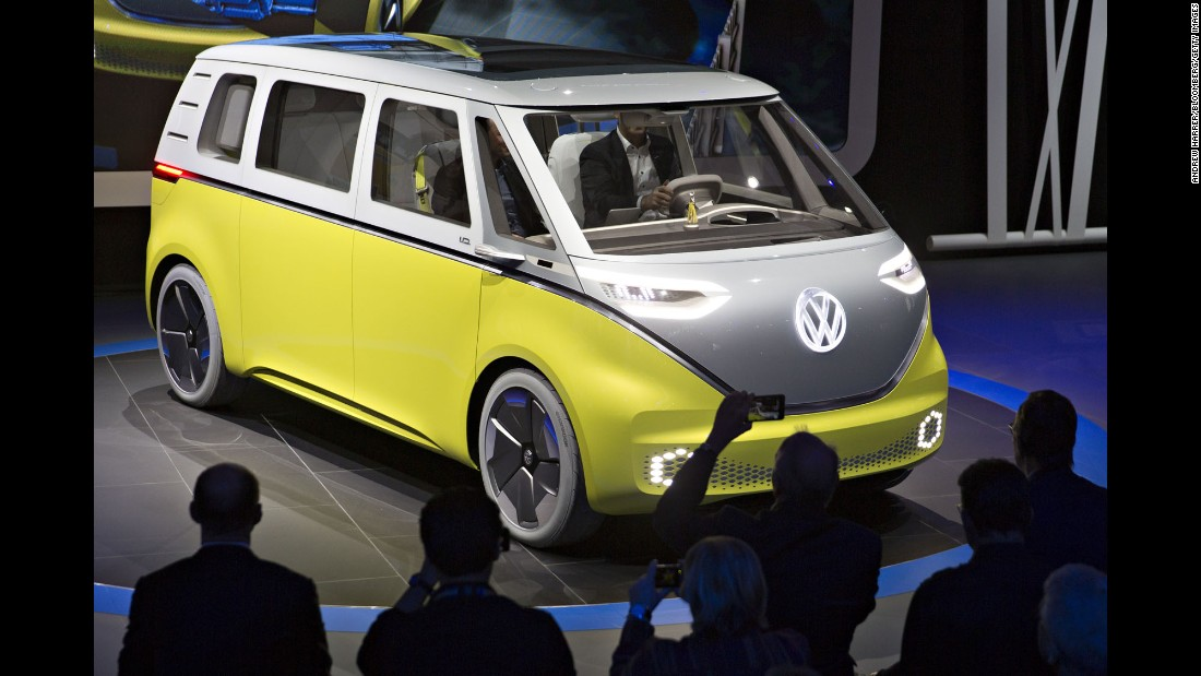 Volkswagen unveils a battery-powered concept of its iconic Microbus during the North American International Auto Show on Monday, January 9.