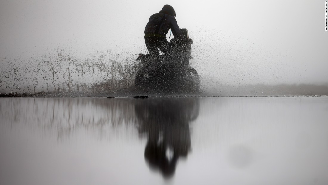 Carlos Gracida Garza rides a motorcycle in Bolivia during the eighth stage of the Dakar Rally on Tuesday, January 10.