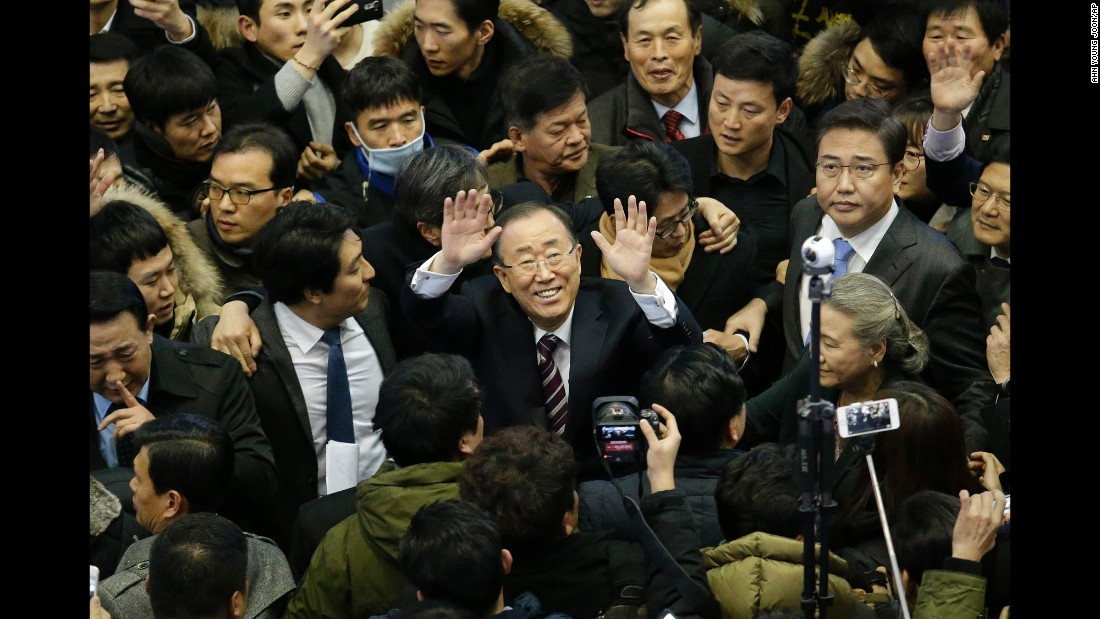 Ban Ki-moon, the former secretary-general of the United Nations, waves after arriving at a railway station in Seoul, South Korea, on Thursday, January 12. He said he'll soon announce whether he will run for president.
