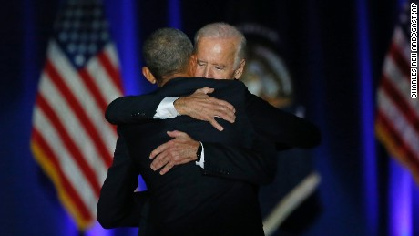 President Barack Obama hugs Vice President Joe Biden after giving his presidential farewell address at McCormick Place in Chicago, Tuesday, Jan. 10, 2017. (AP Photo/Charles Rex Arbogast)