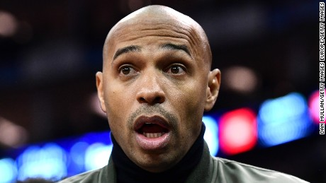 Former Arsenal and France striker Thierry Henry reacts to the drama at the O2 Arena.