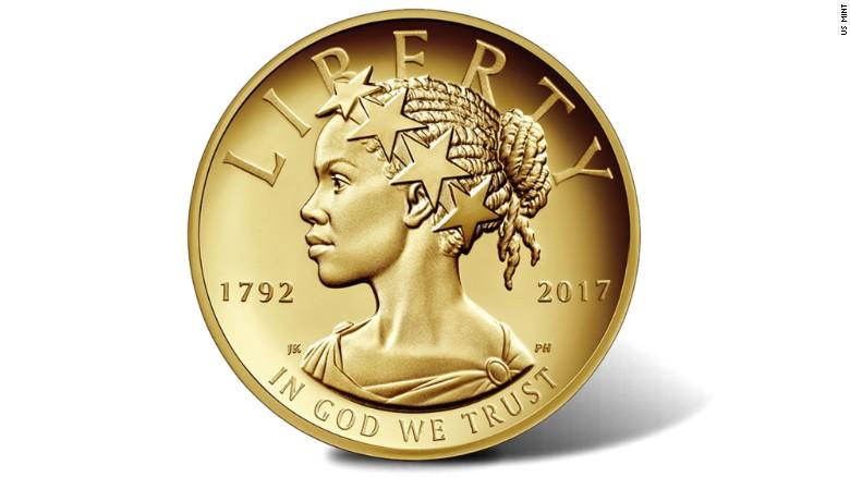ВСША возникла первая золотая монета спрофилем афроамериканки