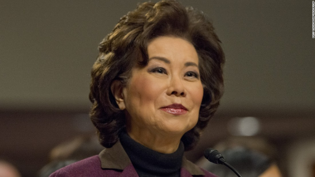 "Chao testifies at <a href=""http://www.cnn.com/2017/01/11/politics/elaine-chao-transportation-secretary-hearing/index.html"" target=""_blank"">her confirmation hearing</a> in January. Chao, who was approved by a 93-6 vote, was deputy secretary of transportation under George H.W. Bush and labor secretary under George W. Bush."