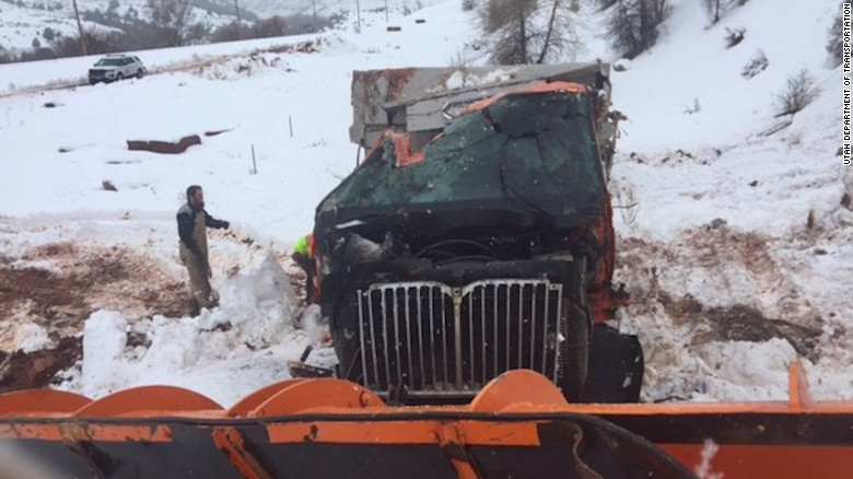 Tractor-trailer clips snowplow, sending it into Utah canyon