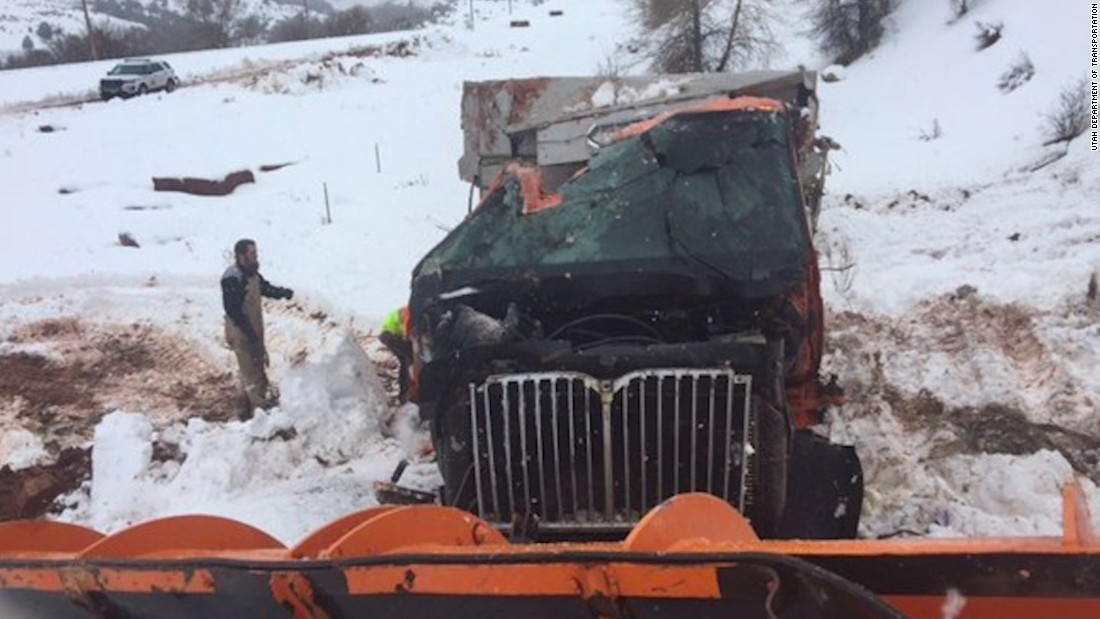 Snowplow hurtles into Utah canyon