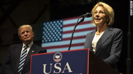 Betsy DeVos, picked by US President-elect Donald Trump for education secretary, speaks during the USA Thank You Tour December 9, 2016 in Grand Rapids, Michigan.