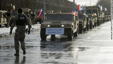 American soldiers are pictured during a welcome ceremony at the Polish-German border in Olszyna, Poland on January 12, 2017. US troops are being deployed in Poland under Operation Atlantic Resolve.