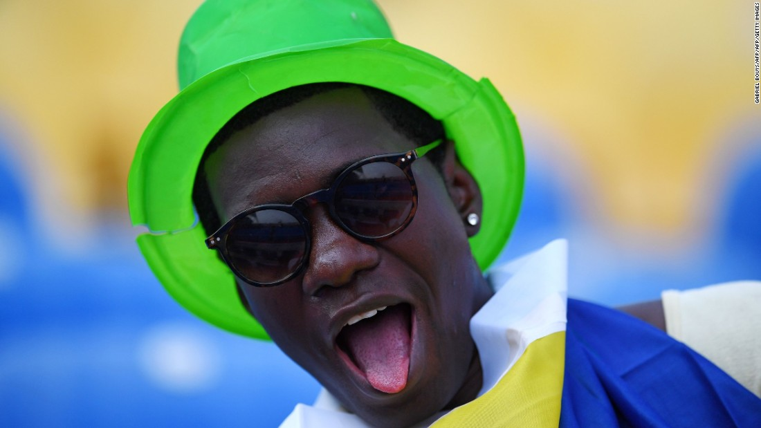 A Gabon supporter sticks his tongue out before the African Cup of Nations kicked off.