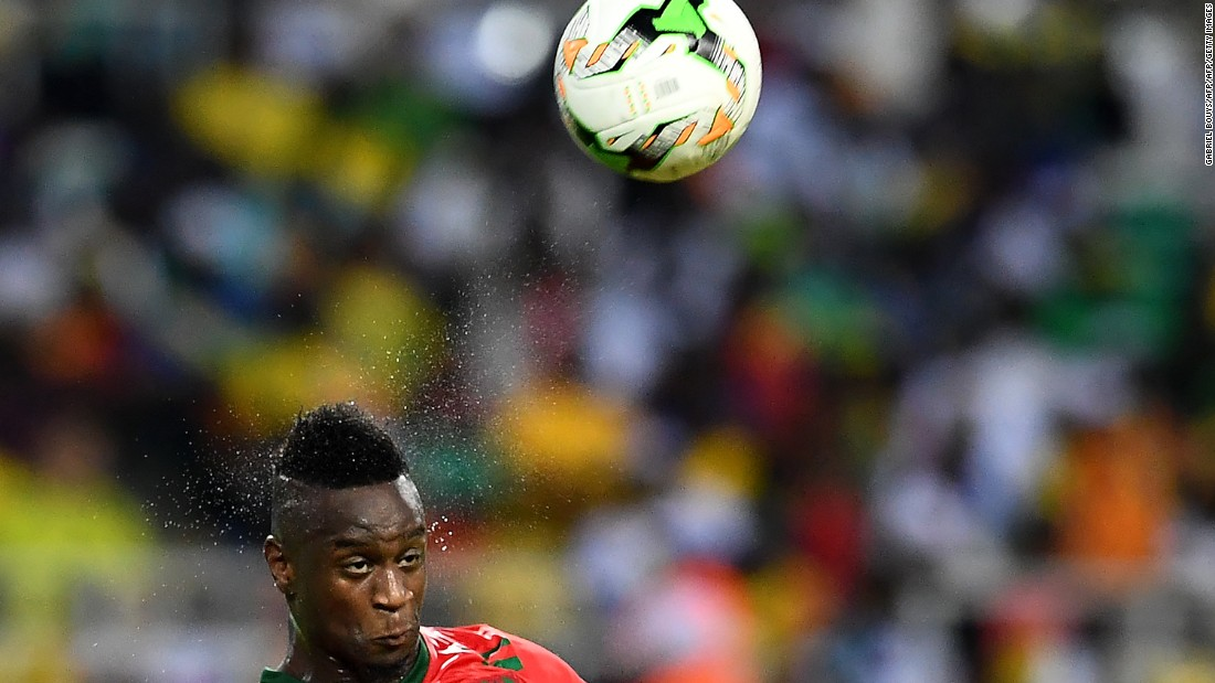 Guinea-Bissau's Frederic Mendy stretches to head the ball as his team looked to level the scores late in the game.