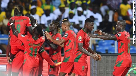 Guinea-Bissau's players celebrate after scoring during the 2017 Africa Cup of Nations Group A match against Gabon.