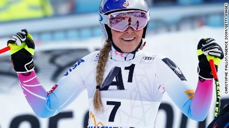 Lindsey Vonn is all smiles after completing her downhill run at Altenmarkt/Zauchensee in Austria.