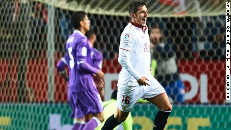 Stevan Jovetic celebrates his stunning late winner for Sevilla in the 2-1 victory over Real Madrid.