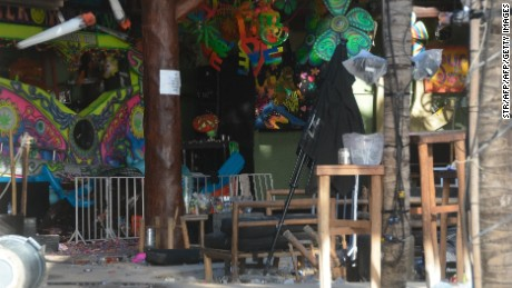 View of the Blue Parrot nightclub in Playa del Carmen, Quintana Roo state, Mexico where 5 people were killed, three of them foreigners, during a music festival on January 16, 2017. A shooting erupted at an electronic music festival in the Mexican resort of Playa del Carmen early Monday, leaving at least five people dead and sparking a stampede, the mayor said. Fifteen people were injured, some in the stampede, after at least one shooter opened fire before dawn at the Blue Parrot nightclub during the BPM festival.    / AFP / STR        (Photo credit should read STR/AFP/Getty Images)