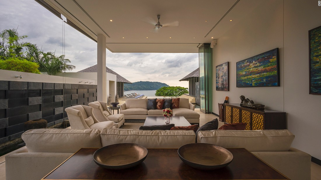 <strong>Lom Talay: </strong>The floor to ceiling windows provide stunning views of the Andaman Sea. All four bedrooms have ensuite bathrooms with double soaking bathtubs.