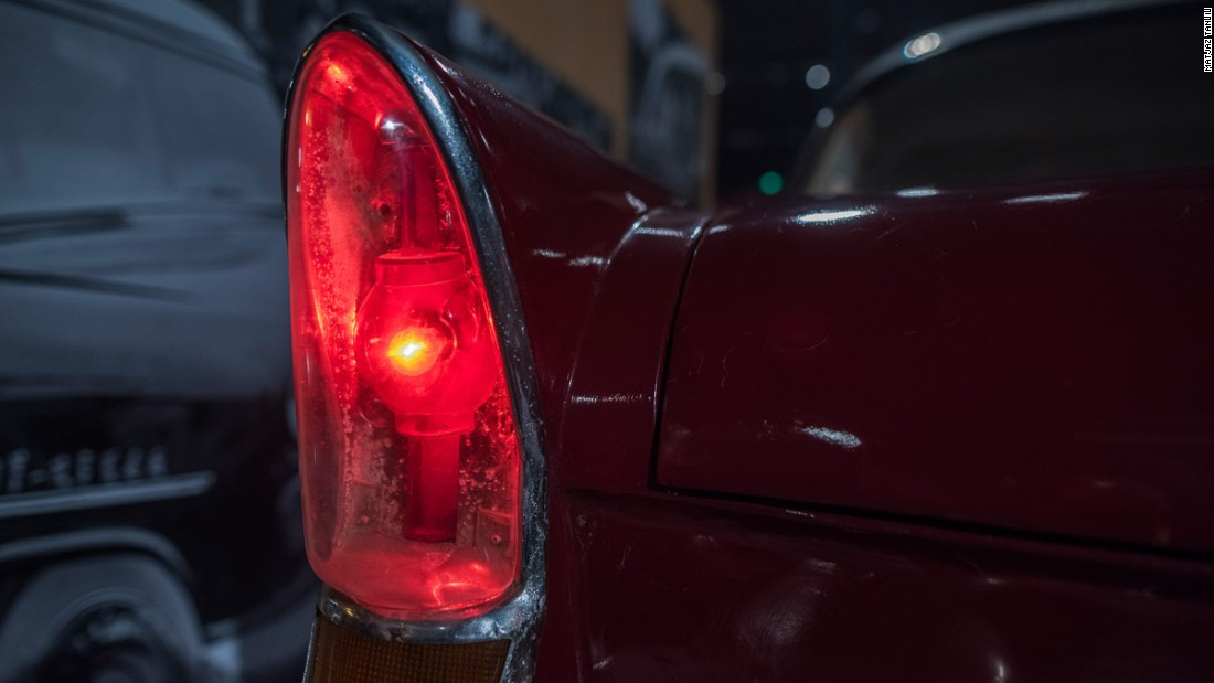 Rear light of a car made by First Automobile Works in 1958. The light is the shape of a traditional Chinese palace lamp, the kind still seen in places like Tiananmen.