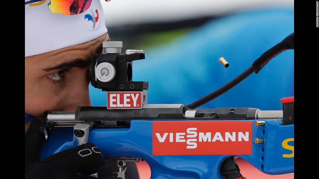France's Martin Fourcade shoots during the men's 4x7.5 km relay competition at the Biathlon World Cup in Germany on Wednesday, January 11.