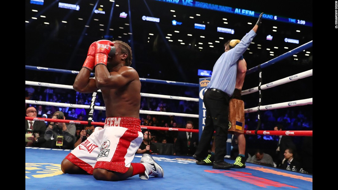 Immanuwel Aleem, left, celebrates after defeating Ievgen Khytrov in a knockout in the sixth round after their middleweight bout at the Barclays Center on January 14 in New York.