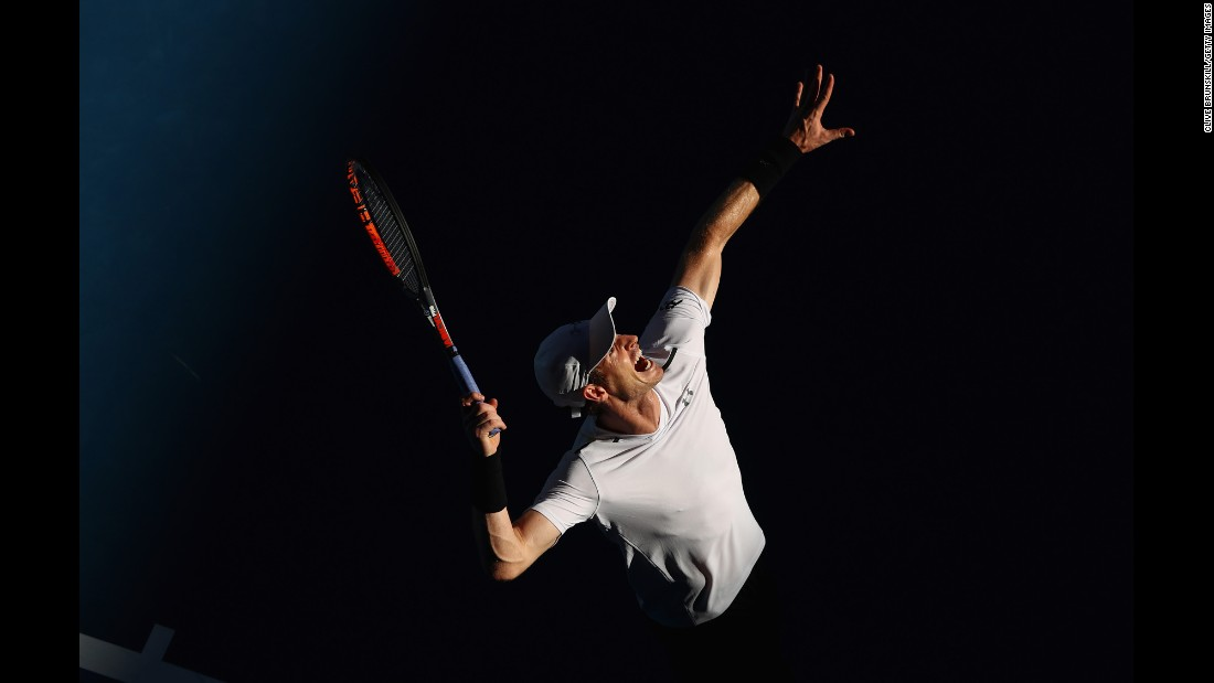 Andy Murray of Great Britain serves in his first round match against Illya Marchenko of the Ukraine on the first day of the 2017 Australian Open on January 16, 2017, in Melbourne.