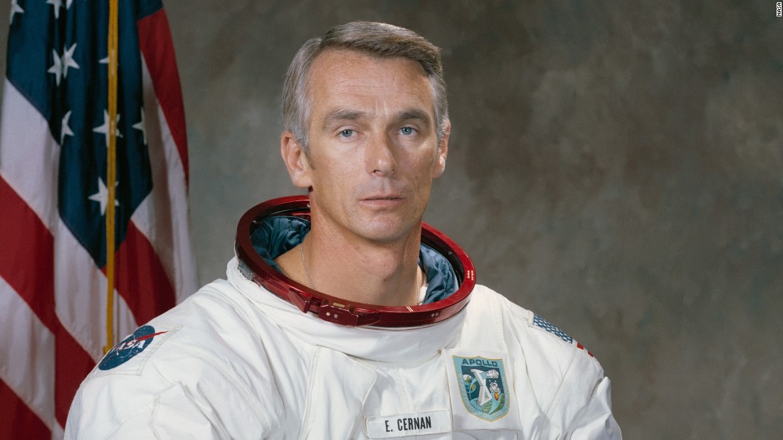 "<a href=""http://www.cnn.com/2017/01/16/us/eugene-cernan-dies/index.html"">Eugene A. Cernan,</a> the last astronaut to leave his footprints on the surface of the moon, died January 16, NASA said. He was 82."