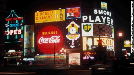Piccadilly Circus at night in 1961.