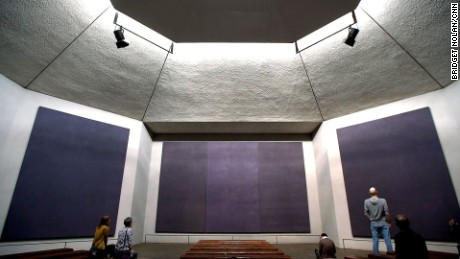 The solemn Rothko Chapel is an interfaith sanctuary featuring works by the late Mark Rothko.