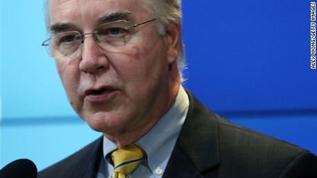 U.S. Rep. Tom Price speaks at the Brookings Institution November 30, 2016 in Washington, DC. President-elect Donald Trump has picked Rep. Price to become the next Secretary of Health and Human Services.