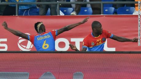DR Congo goalscorer Kabananga celebrates his goal with teammate Mbemba.