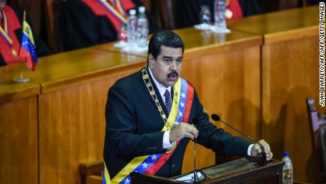 Venezuelan President Nicolas Maduro delivers a speech reviewing his year in office at the Supreme Court of Justice in Caracas on January 15, 2017. Venezuela's leader Nicolas Maduro angered his opponents Sunday by refusing to deliver his annual presidential address in the legislative chamber, fanning tensions in the volatile country.  / AFP / JUAN BARRETO        (Photo credit should read JUAN BARRETO/AFP/Getty Images)