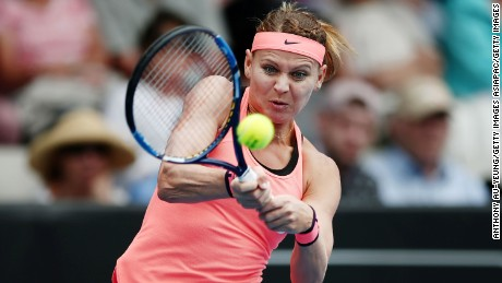 AUCKLAND, NEW ZEALAND - JANUARY 04:  Lucie Safarova of Czech Republic plays a backhand in her match against Barbora Strycova of Czech Republic on day three of the ASB Classic on January 4, 2017 in Auckland, New Zealand.  (Photo by Anthony Au-Yeung/Getty Images)