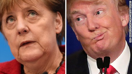 "(COMBO) This combination of file photos created on January 16, 2017 shows then Republican US presidential candidate Donald Trump (November 10, 2015 in Milwaukee, Wisconsin) and German Chancellor Angela Merkel (L, March 14, 2016 in Berlin). German Chancellor Angela Merkel insisted on January 16, 2017 that ""we Europeans have our fate in our own hands"", after Donald Trump criticised the EU and praised Britain's decision to leave the bloc. / AFP / Odd ANDERSEN AND Joshua LOTT        (Photo credit should read ODD ANDERSEN,JOSHUA LOTT/AFP/Getty Images)"