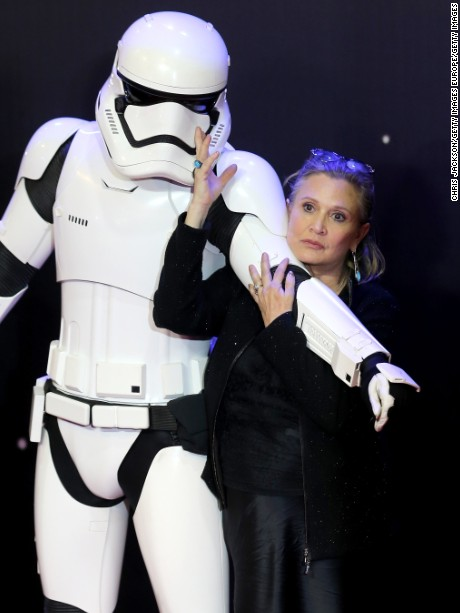 """Carrie Fisher attends the European Premiere of """"Star Wars: The Force Awakens"""" at Leicester Square on December 16, 2015 in London, England."""