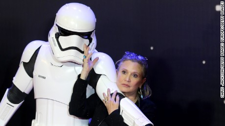 "Carrie Fisher attends the European Premiere of ""Star Wars: The Force Awakens"" at Leicester Square on December 16, 2015 in London, England."