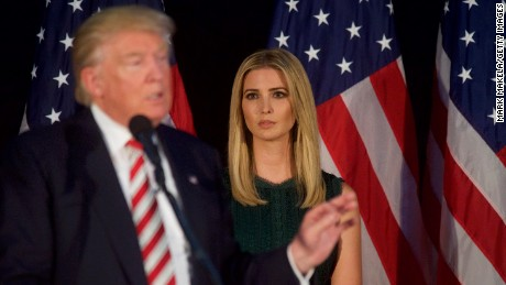 ASTON, PA - SEPTEMBER 13:  Ivanka Trump looks on as her her father, Republican presidential hopeful Donald J. Trump, speaks during a campaign event at the Aston Township Community Center on September 13, 2016 in Aston, Pennsylvania.  Recent national polls show the presidential race is tightening with two months until the election. (Photo by Mark Makela/Getty Images)