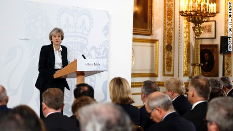 Britain's Prime Minister Theresa May delivers a speech on leaving the European Union at Lancaster House in London.