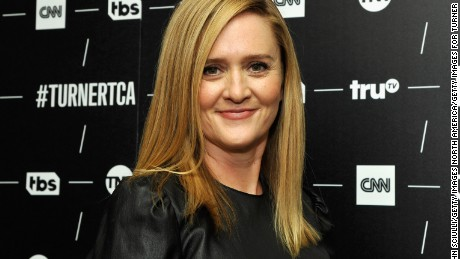 PASADENA, CA - JANUARY 14:  Host/Executive Producer Samantha Bee of 'Full Frontal With Samantha Bee' poses in the green room during the TCA Turner Winter Press Tour 2017 Presentation at The Langham Resort on January 14, 2017 in Pasadena, California.  26574_002  (Photo by John Sciulli/Getty Images for Turner)