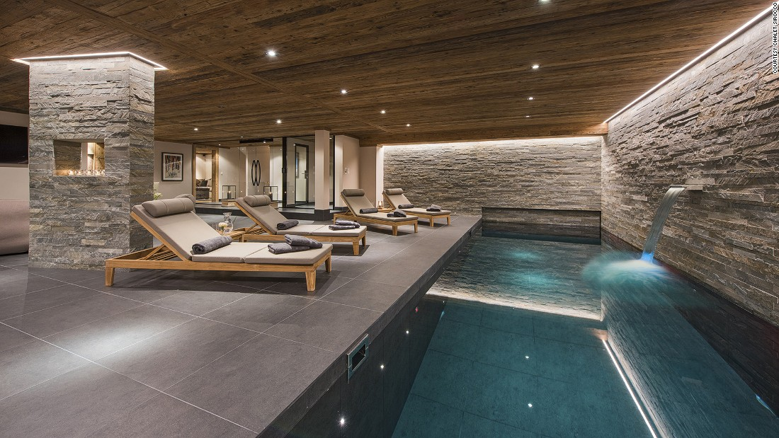 <strong>Chalet Sirocco, Verbier (Switzerland): </strong>Its wellness area is one of the most impressive highlights, featuring pool with waterfall, sauna, hammam and massage room.