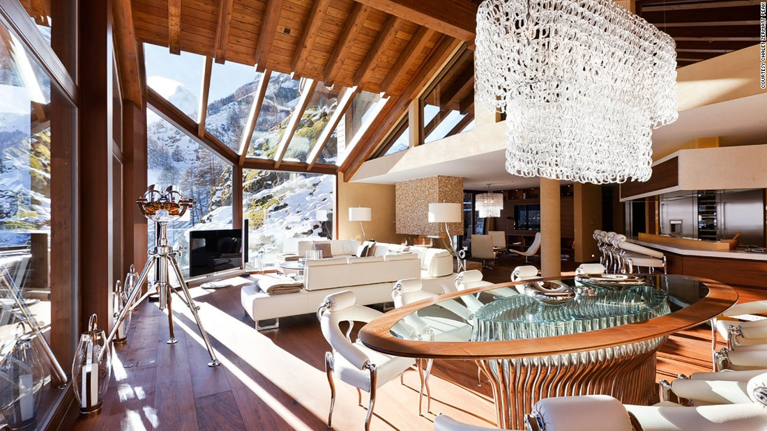 <strong>Chalet Zermatt Peak, Zermatt (Switzerland):</strong> If  jaws haven't already dropped at the floor-to-ceiling views of the Matterhorn from the Zermatt Peak's living area, they will at the walnut floors, marble and stone-clad walls and sumptuous furnishings of the interior.