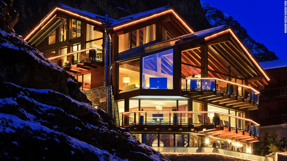 <strong>Chalet Zermatt Peak, Zermatt (Switzerland): </strong>The entrance tunnel hewn into the rock is reminiscent of a Bond villain's lair. A floating walnut, steel and glass staircase and a lift access five more levels of Swiss swank.