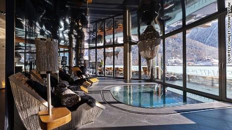 Chalet Zermatt Peak provides amazing views of the Matterhorn, even from its indoor spa area.
