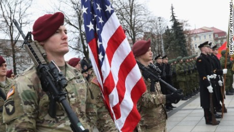 VILNIUS, LITHUANIA - NOVEMBER 23:  Soldiers of the U.S. 173rd Airborne Brigade prepare to participate in a parade in the city center during the Iron Sword multinational military exercises on November 23, 2016 in Vilnius, Lithuania. Approximately 4,000 soldiers from NATO countries, including all three Baltic states as well as the USA, are participating in two-week exercises. U.S. President-elect Donald Trump has suggested in past comments that he will review the U.S. commitment to defend NATO member states. The Baltic states, on the eastern geographic edge of the NATO alliance and close to Russia, see themselves at risk. They are concerned that Trump will not take the threat of potential Russian intervention in their countries seriously.  (Photo by Sean Gallup/Getty Images)