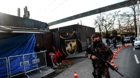 A Turkish special force police officer walks in front of the Reina nightclub on January 4, 2017 in Istanbul, three days after a gunman killed 39 people on New Year's night.   The gunman had fought in Syria for Islamic State jihadists, a report said on January 3, as Turkish authorities intensified their hunt for the attacker. Of the 39 dead, 27 were foreigners, mainly from Arab countries, with coffins repatriated overnight to countries including Lebanon and Saudi Arabia. / AFP / OZAN KOSE        (Photo credit should read OZAN KOSE/AFP/Getty Images)