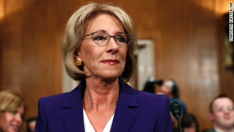 Education Secretary-designate Betsy DeVos arrives before testifying on Capitol Hill in Washington, Tuesday, January 17, 2017, at her confirmation hearing before the Senate Health, Education, Labor and Pensions Committee.